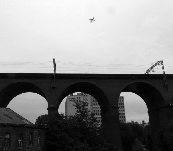 Manchester bound plane over Stockport viaduct