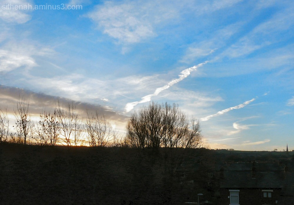 Sunrise over Swains Valley and Werneth Low Road