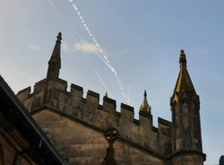 Contrails over St Mary's Church, Stockport.