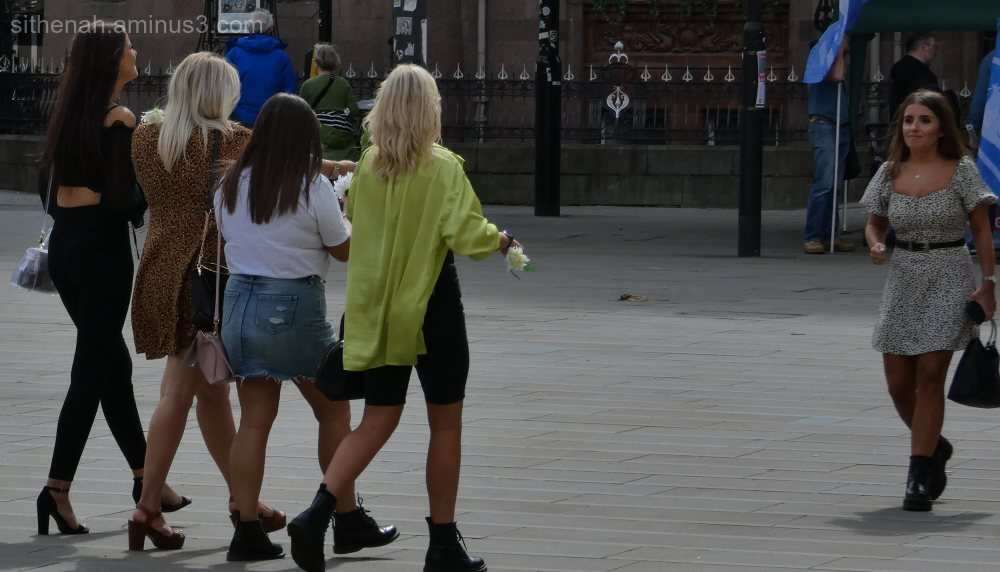 Girls crossing St Peter's Square Manchester