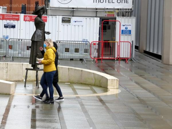 Emmeline Pankhurst in St Peter's Square Manchester