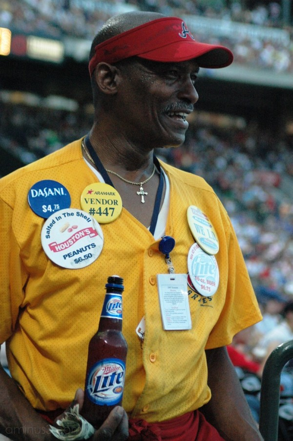 African American vendor at baseball game