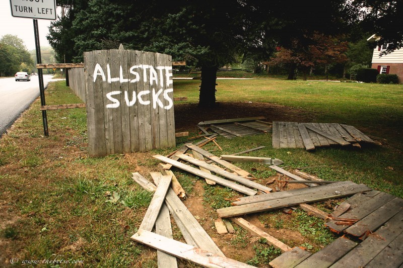 allstate insurance wrecked fence