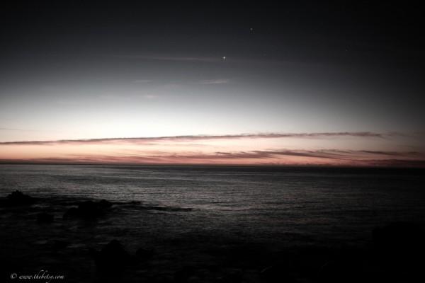 sunrise cabo stars blue vignette ocean rocks