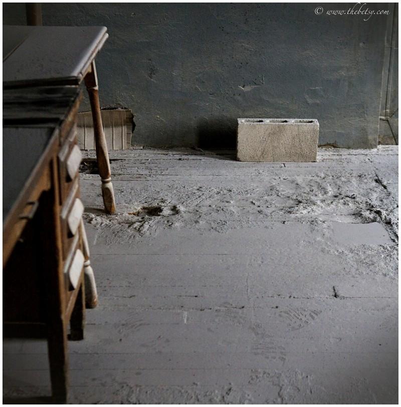 yuengling brewery concrete block dusty floor desk