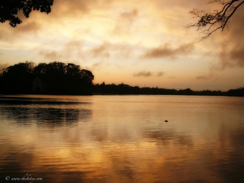 bargaintown lake clouds sunset mist orange