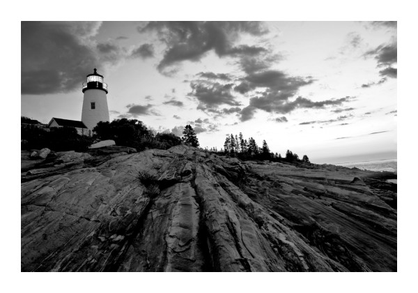 pemaquid lighthouse black and white morning rocks