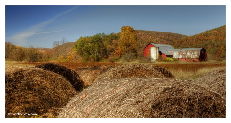 haybales, ansonia, red barn, landscape, fall, autu