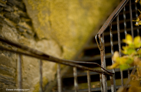 stairs, autumn, rust