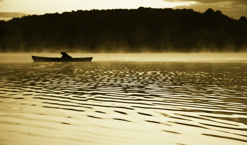 canoe, marsh creek, lake, sunrise