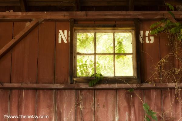 barn no smoking window rustic sunlight red