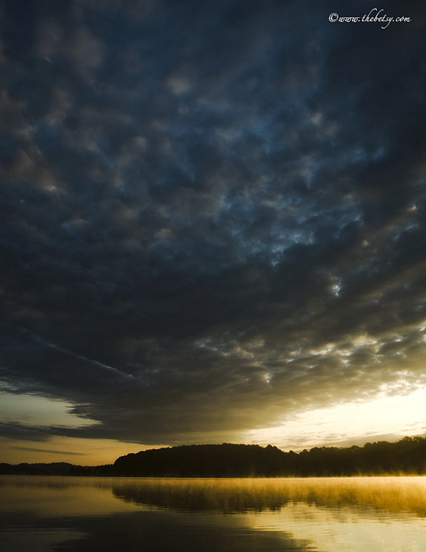 lake morning sunrise clouds