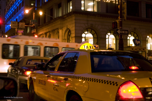 philadelphia, taxi, broad street, city, night, lig