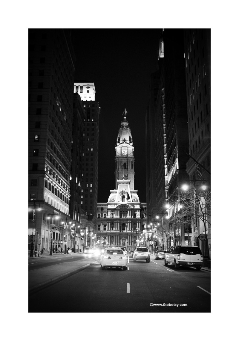 philadelphia, city hall, broad street, night