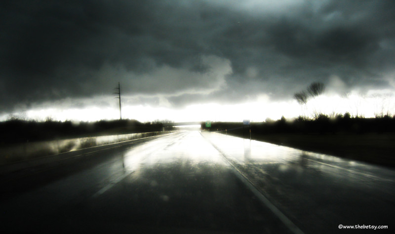 clouds, storm, road, light, highway, spring