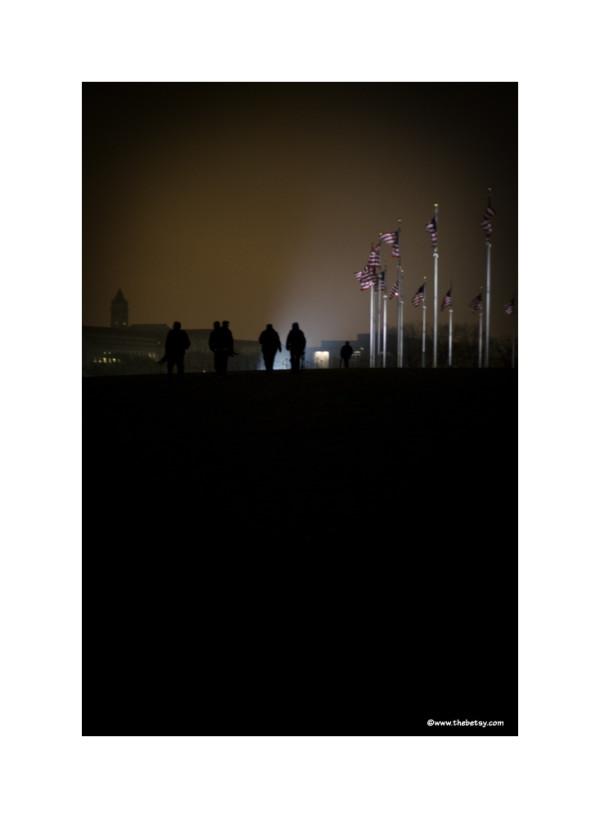 photographers, washington, night, flags, mist