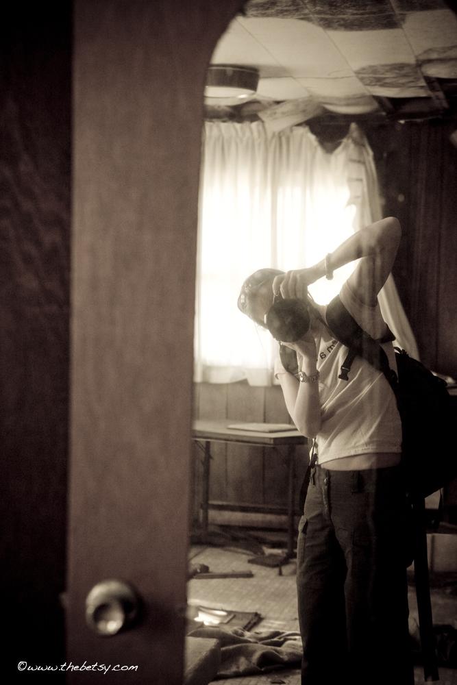 self-portrait, mirror, abandoned, house, diaster