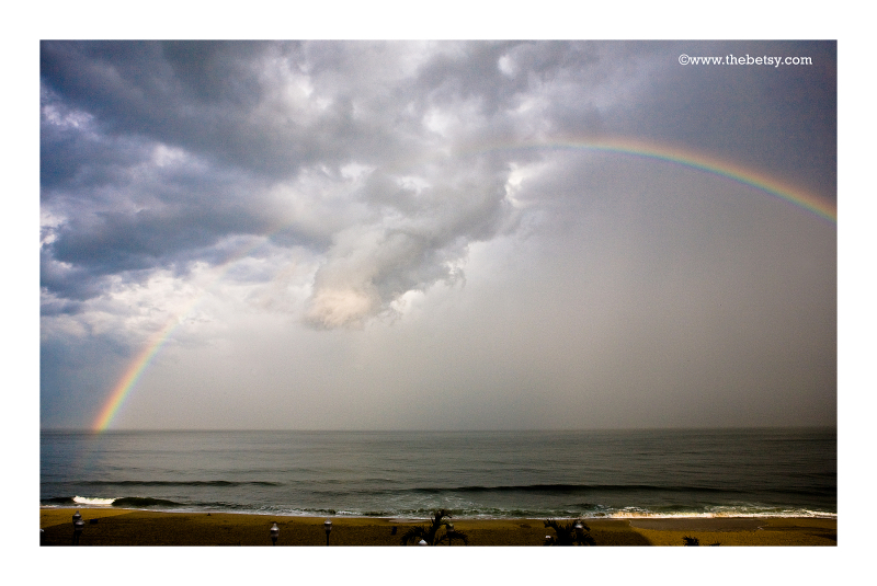 ocean, rainbow, water, clouds