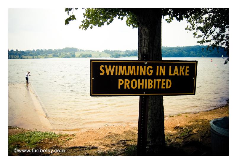 park, lake, signs