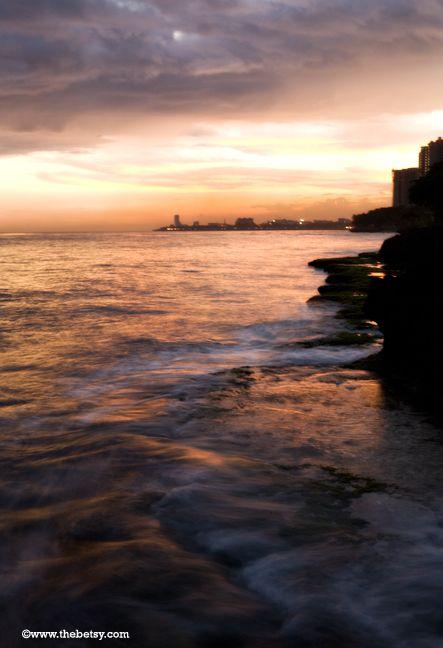 ocean, coast, sunset