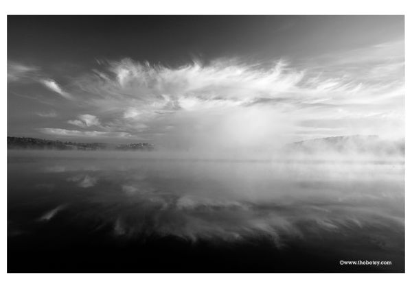 fog, lake, water, morning, sky, clouds