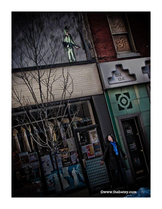 sniper, graffiti, woman, street, philadelphia