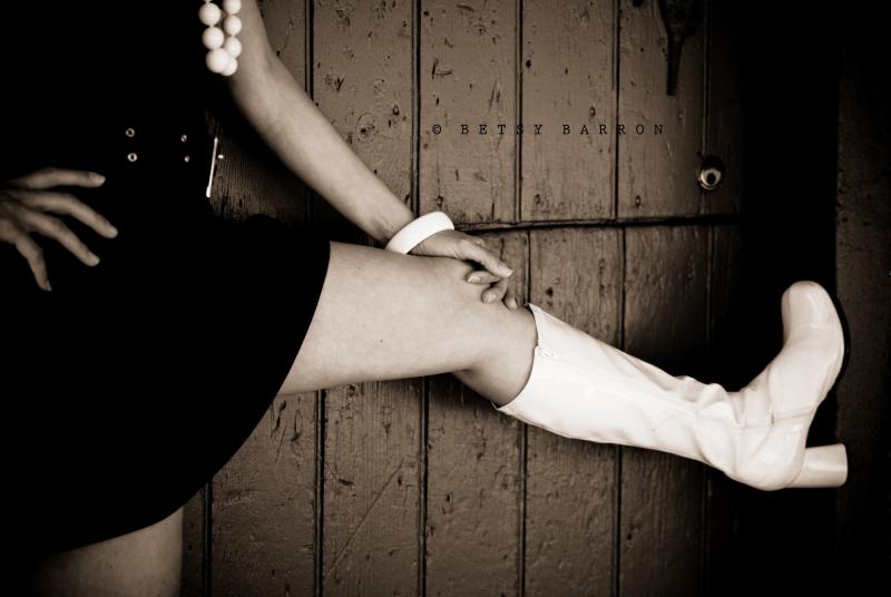 legs, go-go, boots, sixties, black-white, portrait