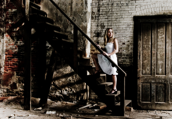 portrait, woman, train, abandoned-building