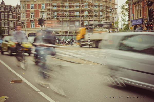 amsterdam, street, bike, car, chaos, movement