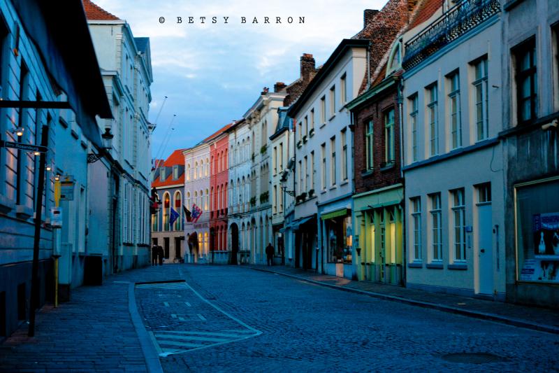bruges, dusk, street, cobblestone, blue, building