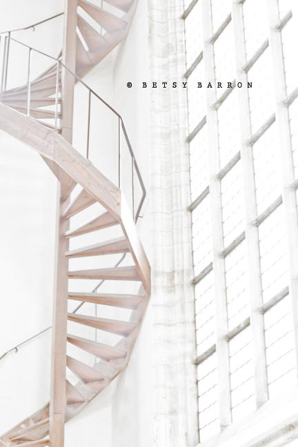 staircase, spiral, wood, windows, white, church