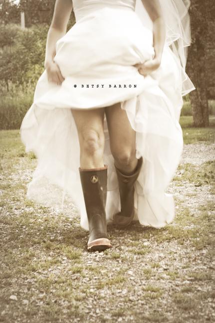 wedding, dress, wellies, bride, country, trash