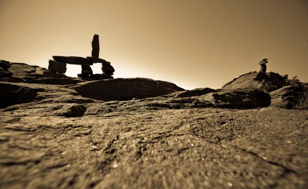 stone, landscape, ocean, rocks, cairn, sepia
