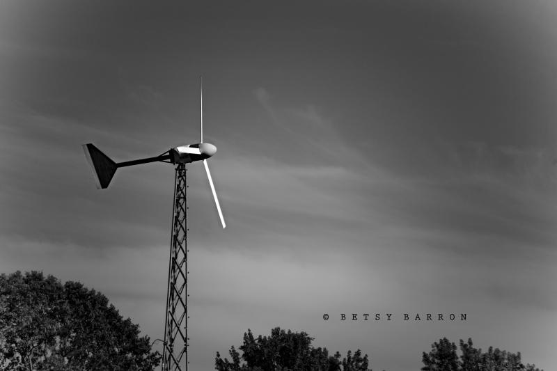windmill, farm, black_white, sky