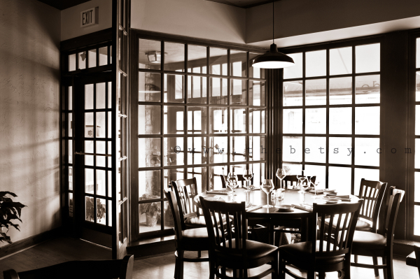 restaurant, windows, dining, sepia