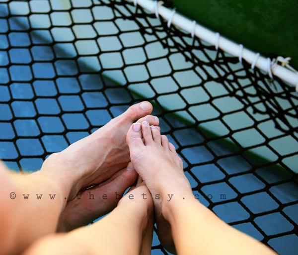 portrait, feet, catamaran, sailing, net, ocean