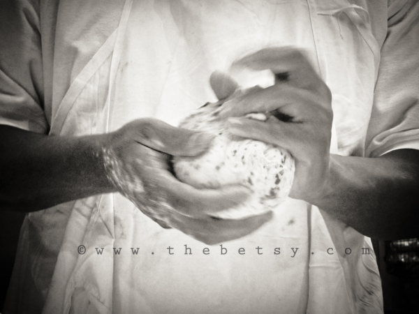 baker, bread, dough, hands, black_white, kneading