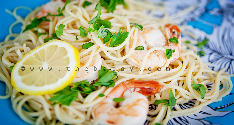 shrimp, scampi, food, pasta, parsley, lemon, yello