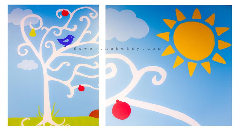 paint, drawing, children, birds, sun, owl, blue
