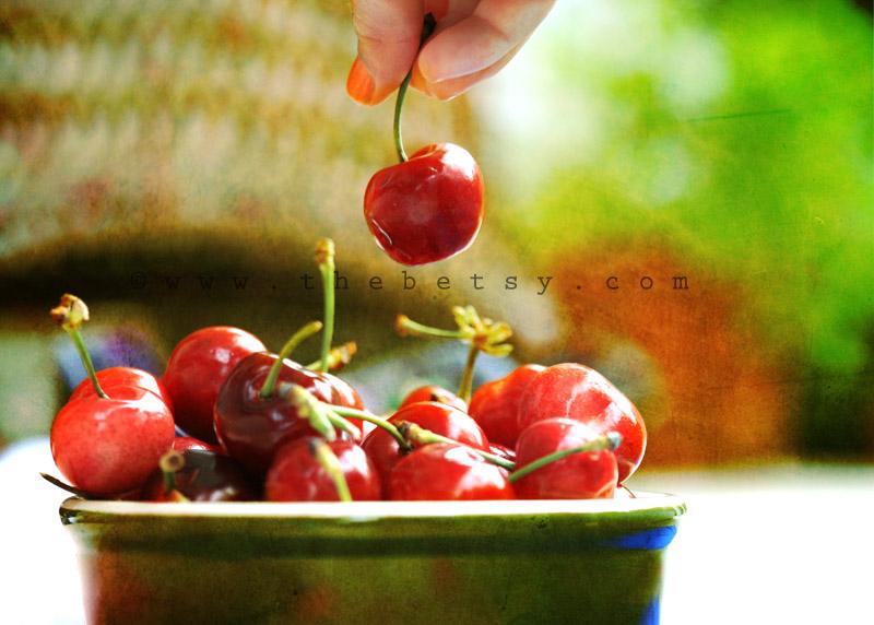 cherries, bowl, girl, summer, fruit
