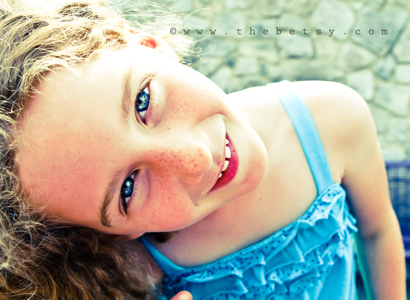girl, blue, eyes, curls, curly, hair, summer