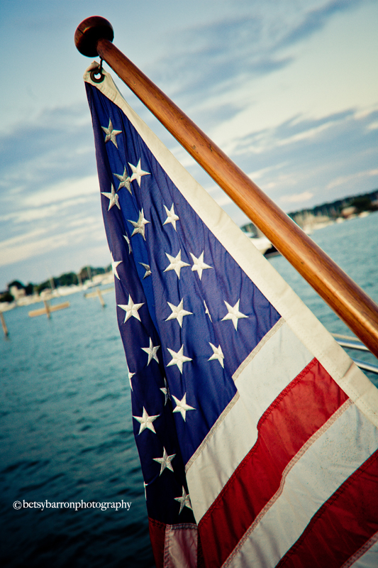 flag, american, red, white, blue, boat, patriotic