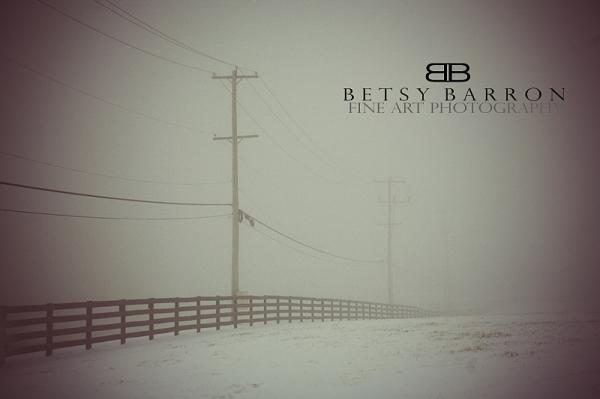 fog, farm, fence, snow, pole, electric, winter