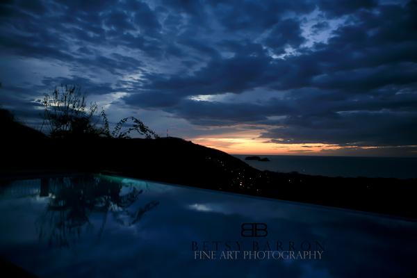 sunset, pool, costa, rica, sky, clouds, night