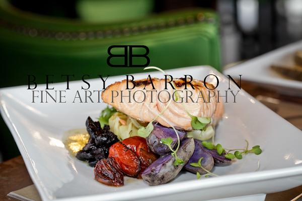 food, cuisine, purple, potatoes, salmon, restauran