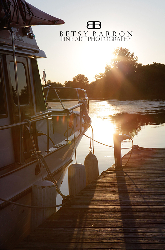 sunset, dock, boat, canada