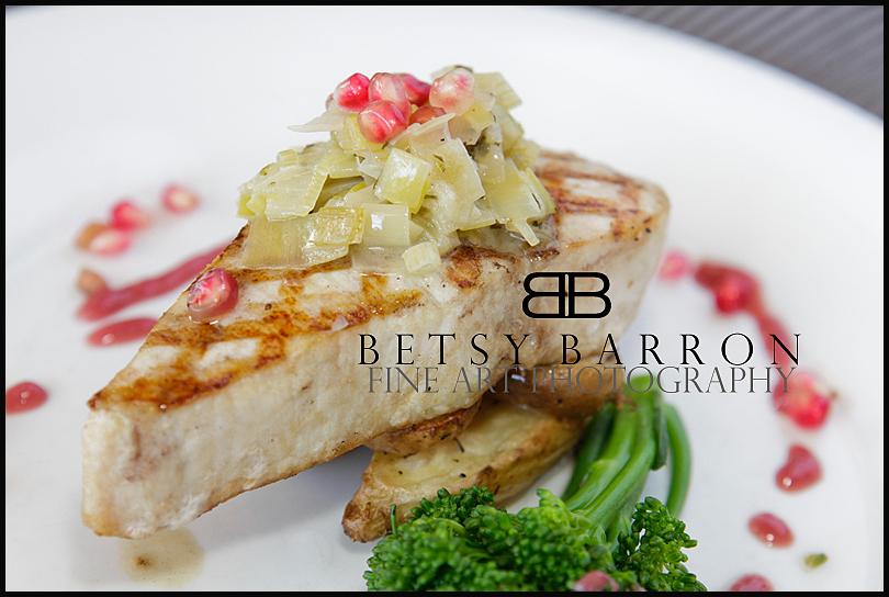 food, swordfish, pomegranate, fish, dinner, plate