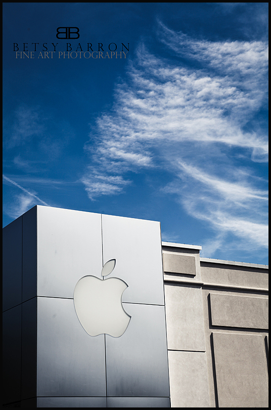 apple, computer, logo, building, sky, clouds