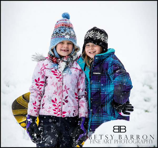 girls, children, snow, sledding, fun, winter