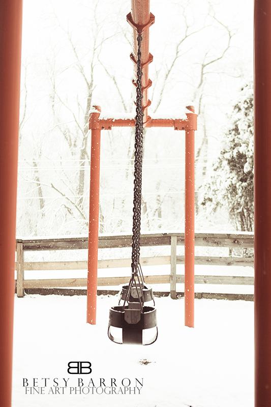 snow, swing, playground, winter, white, play